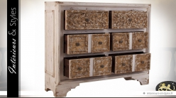 Commode 6 tiroirs blanc cassé et façades tiroirs sculptées