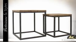 Duo de tables basses carrées design bois et métal