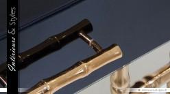Table de chevet design noir et or en métal