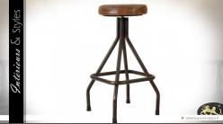 Tabouret de bar de style industriel en métal et croûte de cuir