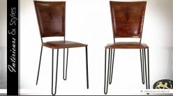 Chaise vintage et design en cuir brun et métal noir