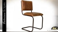 Chaise traineau vintage en métal et cuir havane matelassé
