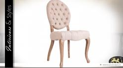 Chaise médaillon de style baroque lin écru capitonné