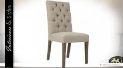 Chaise de repas à dossier haut et capitonné coloris lin écru