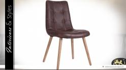 Chaise vintage scandinave similicuir brun et bois naturel