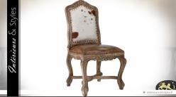 Chaise de style baroque avec assise cuir et dossier en fourrure