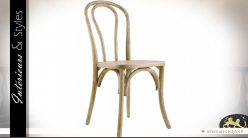 Chaise rétro en orme dossier arrondi finition bois clair