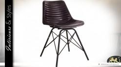Chaise vintage design cuir marron foncé et métal noir