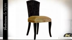 Chaise de style exotique en manguier patine noire et velours doré