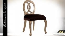 Chaise Art Déco baroque en mindi et velours marron et vieil or