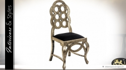Chaise baroque Art Déco patine vieil or et velours noir