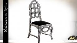Chaise baroque Art Déco patine vieil argent et velours noir