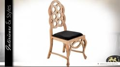 Chaise baroque Art Déco bois naturel et velours noir