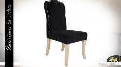 Chaise de salle à manger bois naturel et tissu noir