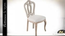 Chaise baroque beige clair dossier ajouré clouté