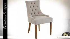 Chaise rétro et relax tissu capitonné beige clair