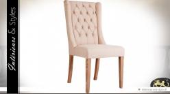 Chaise chic tissu coloris lin écru à grand dossier capitonné