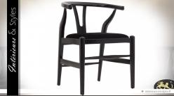 Chaise rétro design noir en bois laqué et assise velours noir