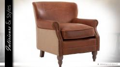 Fauteuil rétro relax cuir et tissu coloris marron havane