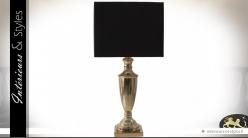 Lampe de salon coupe en laiton doré et abat-jour carré noir