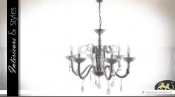 Lustre blanc baroque à pampilles à 6 points lumineux