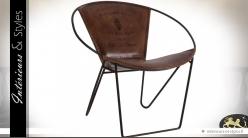 Fauteuil vintage et design métal noir et cuir marron