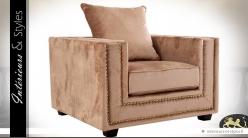 Grand fauteuil rétro et relax sépia et or