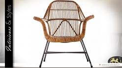 Fauteuil en rotin et métal de style vintage et design teinte miel
