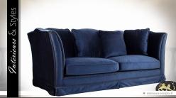 Canapé relax et rétro à 3 places tissu bleu nuit