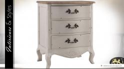 Table de chevet blanc cassé shabby chic à 3 tiroirs
