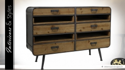 Commode industriellle bois et métal 6 tiroirs et 4 bacs