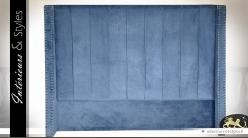 Tête de lit rétro en velours bleu clair