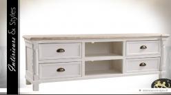 Meuble tv shabby chic blanc bois natrurel 4 tiroirs 2 Meuble tv style anglais