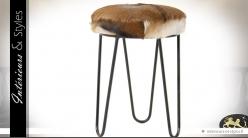 Tabouret rond design avec assise en fourrure