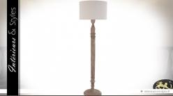 Grand lampadaire bois tourné et abat-jour lin blanc 195 cm