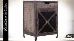 Table de chevet industriel en bois et métal vieillis