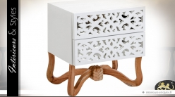 Table de chevet blanche design et orientale à 2 tiroirs