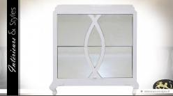 Table de chevet blanche contemporaine 2 tiroirs avec miroirs