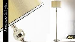 Lampadaire design chrome billes argentées 150 cm