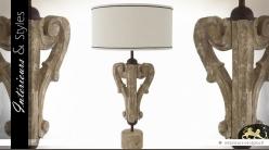 Lampe de salon pied sculpté en bois d'eucalyptus 78 cm