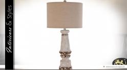 Lampe rétro pied en balustre gris ancien abat-jour lin écru 81 cm
