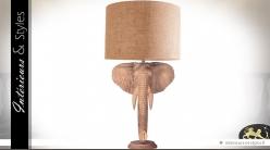 Grande lampe tête d'éléphant sculptée en teck 80 cm