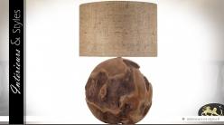 Lampe sphère en teck massif organique et brut 68 cm