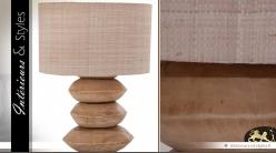 Lampe déco en galets d'acacia massif avec abat-jour grège 70 cm