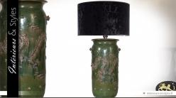 Lampe en céramique noir vert et or de style extrême-oriental