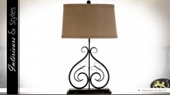 Grande lampe fer forgé noir et abat-jour coloris lin écru 69 cm