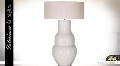 Grand lampe blanche en céramique et jute 95 cm