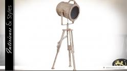 Lampe spot sur trépied en métal gris vieilli 73 cm