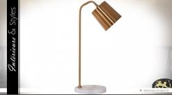 Lampe de bureau en laiton doré avec socle en marbre blanc 55 cm