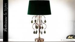 Lampe chic vert anglais et or pampilles facettées émeraude